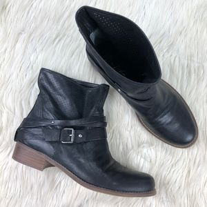 Marc Fisher Pull On Leather Moto Ankle Boots